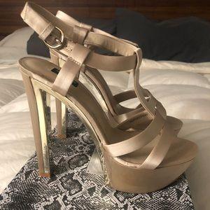 Baker Reflection Gold Nude Satin Platform Heels 9
